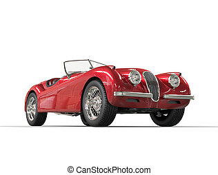 Red vintage car on white background, image shot in ultra high resolution.