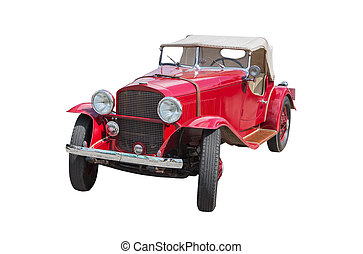 red vintage car on white