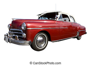 Vintage car photographed at car show ; isolated, clipping path included