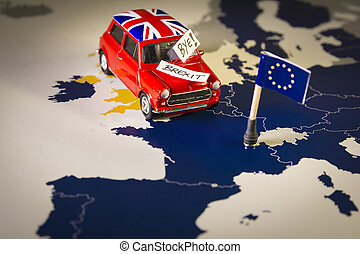 Red vintage car with Union Jack flag and brexit or bye words...