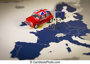 Red vintage car with Union Jack flag over an UE map and flag...