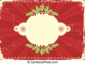 Red vintage Christmas card for text - Vintage Christmas card...