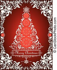 Red vintage Christmas card with cut out paper christmas tree and floral decorative border