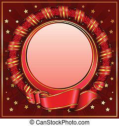 Red vintage circle frame