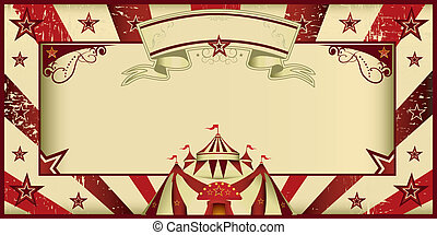Red vintage circus invitation - Circus invitation with...