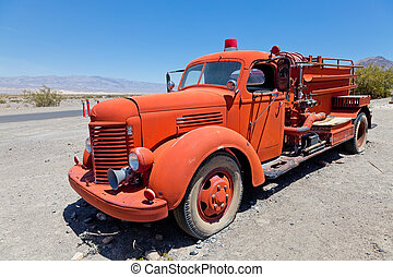 Red vintage firefigther's truck