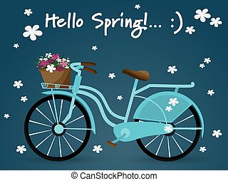 Red vintage ladies bicycle with wicker basket full of spring flowers viewed from the side and Hello Spring text with flowers in blue background.