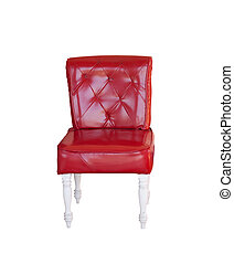 red vintage leather chair isolated on white.