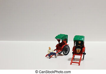 red vintage oriental rickshaw cab