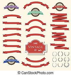 Red vintage ribbon banners and labels set. Vector illustration for design