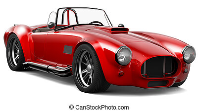Red vintage roadster on a white background