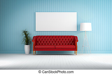 red vintage sofa on the room 3d rendering