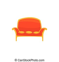 Red vintage sofa with pillows, living room or office interior, furniture for relaxation cartoon vector Illustration