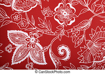 Red vintage wallpaper with white vignette victorian pattern
