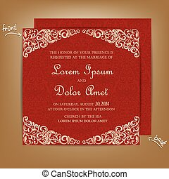 Red Vintage Wedding Invitation Card