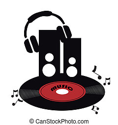 red vinyl with headphones - silhouettes of a red black vinyl...