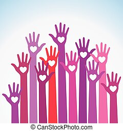 Red violet colorful caring up Volunteers hands hearts vector icon.