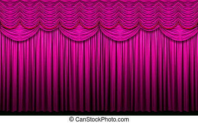 Red violet stage curtain with yellow accents with light and shadow