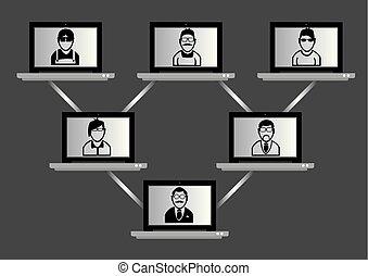 red, virtual, computadora, reunión, concepto, tecnología