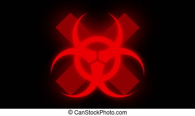 Red virus symbol on cross with interferences
