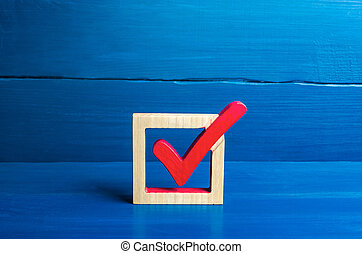 Red voting check mark on a blue background. Voting concept for democratic elections. Make the best choice, solve the problem. Social poll. Rights and freedoms. Lawmaking. Approval symbol