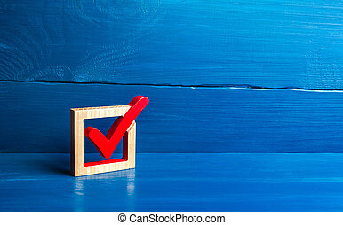 Red voting tick in a box. Checkbox. Presidential or parliamental democratic elections, referendum. Social poll. Rights and freedoms. Voting. Lawmaking. Approval symbol