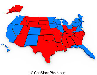Red Vs Blue United States America Map Presidential Election...