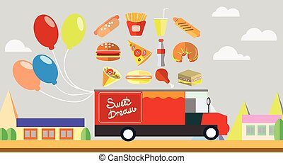 Red wagon fast food with baloons vector illustration
