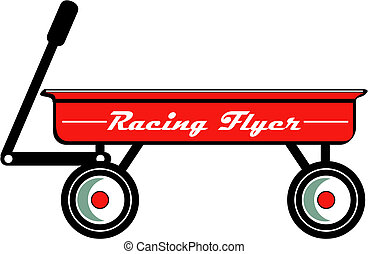 Red Wagon Retro Vintage Clip Art - Red wagon toy or childs...