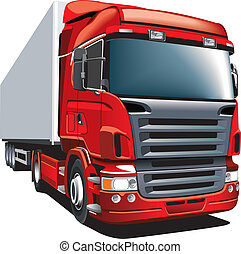 Red wagon - Detailed vectorial image of red wagon, isolated...