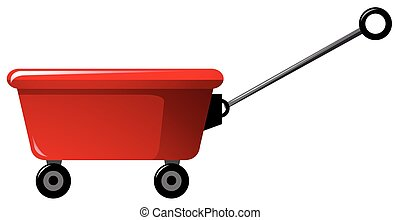 Red wagon with handle illustration
