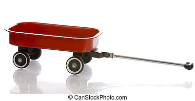 red wagon with reflection isolated on white background