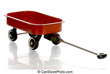 red wagon with reflection on white background