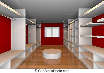 red walk-in closet