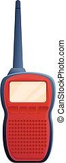Red walkie talkie icon, cartoon style