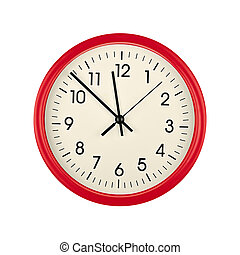 Red wall clock face isolated on white