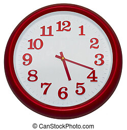 Red wall clock isolated on white background