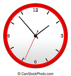 red wall clock with hour minutes and second hand
