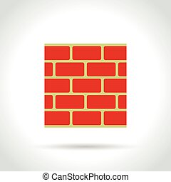 red wall on white background