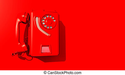 Red wall phone - Computer generated 3D illustration with a...