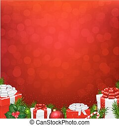 Red Wall With Fir Tree Border