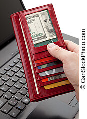 Red Wallet and keyboard