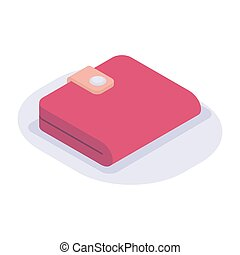 red wallet isometric icon with modern flat style color