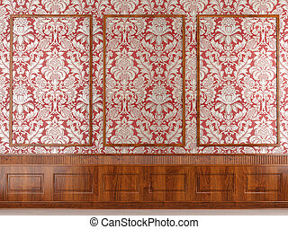red wallpaper and wood molding