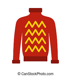 Red warm sweater icon, flat style