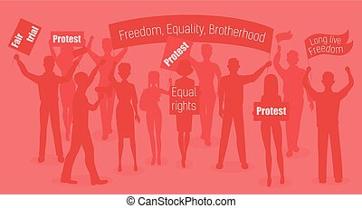 Red warm vector illustration of protesters. People demonstration, protest, revolution and conflict in city.