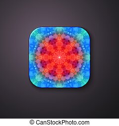 3d button with abstract 3d fractal pattern.