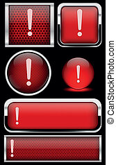 Red warning icon set