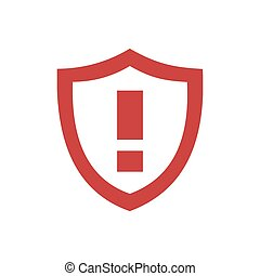 Red warning shield icon on a white background