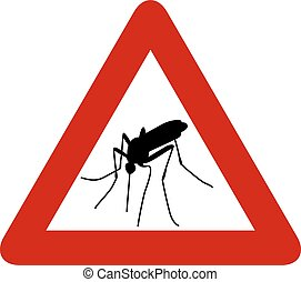 Red warning sign with black silhouette of mosquito